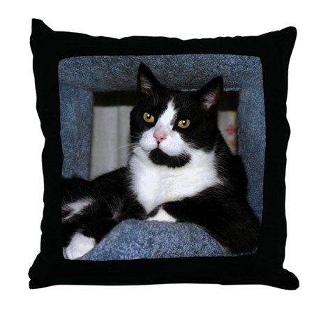 BLACK & WHITE TUXEDO CAT PILLOW