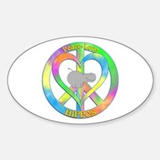 Peace Love Hippos Sticker (Oval)