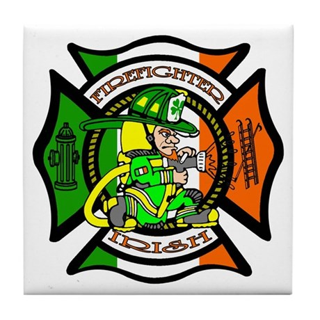 Firefighter-Irish Tile Coaster