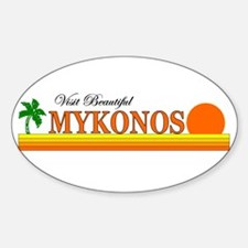 Visit Beautiful Mykonos, Gree Oval Decal