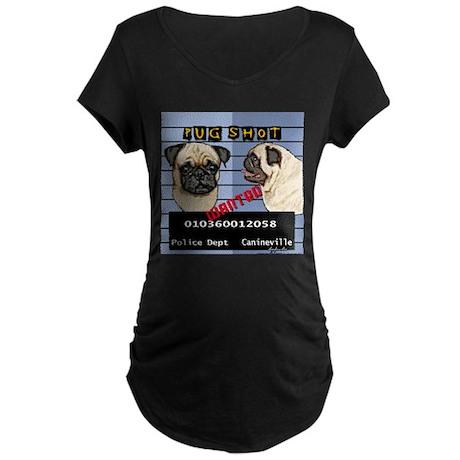Pug Shot Maternity Dark T-Shirt