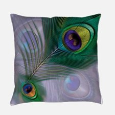 Purple Peacock Feathers Everyday Pillow