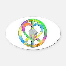 Peace Love Elephants Oval Car Magnet