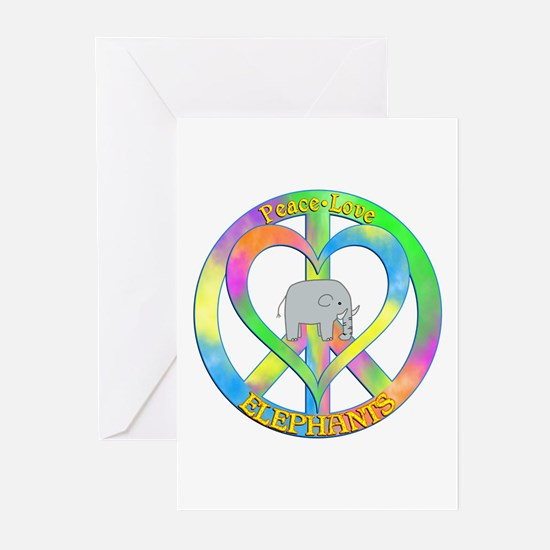 Peace Love Elephants Greeting Cards (Pk of 10)