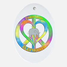 Peace Love Elephants Oval Ornament