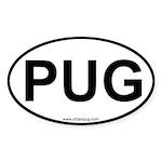 Pug Dog car euro oval sticker