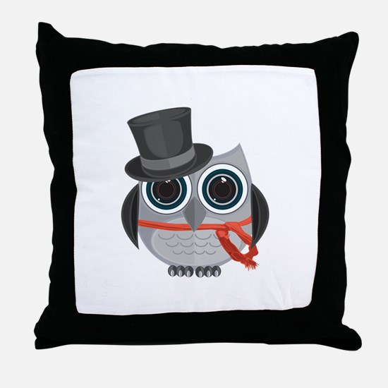Top Hat Owl - Christmas Throw Pillow