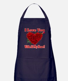 I Love You With All My Heart! Apron (dark)