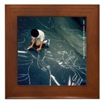 Boy Drawing w/Chalk Framed Tile