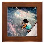 Girl drawing w/Chalk Framed Tile