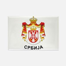 Serbia coat of arms with name Rectangle Magnet