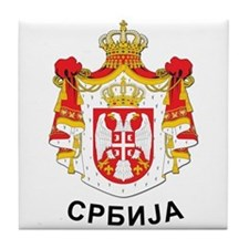 Serbia coat of arms with name Tile Coaster