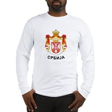 Serbia coat of arms with name Long Sleeve T-Shirt