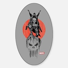 Punisher Red Sun Sticker (Oval)