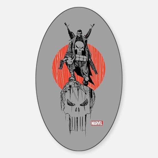 Punisher Red Sun Sticker (Oval)