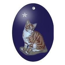 Yellow Tabby Xmas Star Oval Ornament