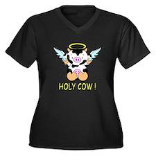 Holy Cow! Women's Plus Size V-Neck Dark T-Shirt