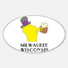 Wisconsin State Beer & Top Hat- Milwaukee Decal