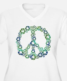 Blue Recycle Peace Plus Size T-Shirt