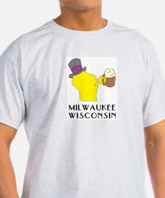 Wisconsin State Beer & Top Hat- Milwaukee T-Shirt