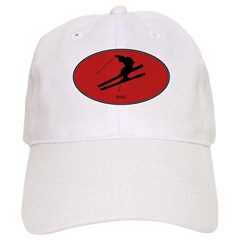 Skiing (euro-red) Baseball Cap