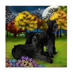 GIANT SCHNAUZER DOGS FALL Tile Coaster