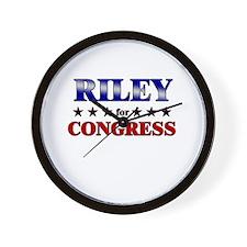 RILEY for congress Wall Clock