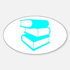 Stack Of Cyan Books Sticker (Oval)