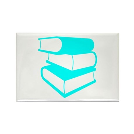 Stack Of Cyan Books Rectangle Magnet (100 pack)