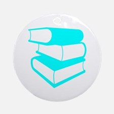 Stack Of Cyan Books Ornament (Round)