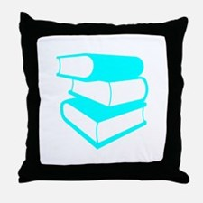 Stack Of Cyan Books Throw Pillow