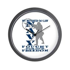Mother-n-Law Fought Freedom - NAVY Wall Clock