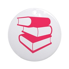 Stack Of Pink Books Ornament (Round)