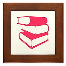 Stack Of Pink Books Framed Tile