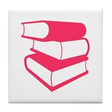 Stack Of Pink Books Tile Coaster