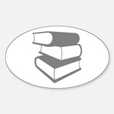Stack Of Gray Books Sticker (Oval)