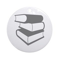 Stack Of Gray Books Ornament (Round)