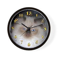 HIMALAYAN SEAL-POINT CAT KITTEN WALL CLOCK