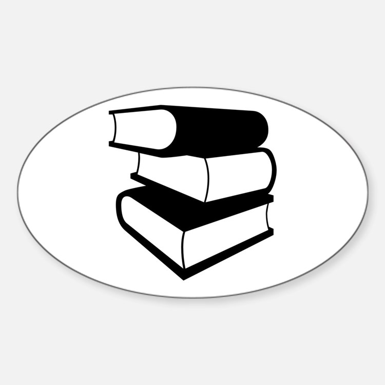 Stack Of Black Books Sticker (Oval)