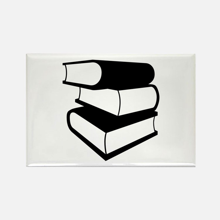 Stack Of Black Books Rectangle Magnet