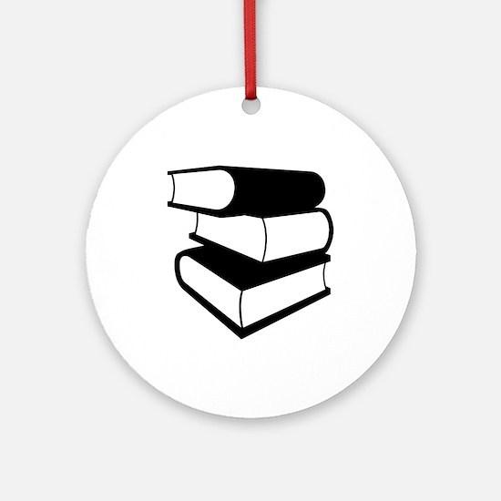 Stack Of Black Books Ornament (Round)