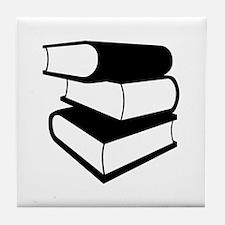 Stack Of Black Books Tile Coaster