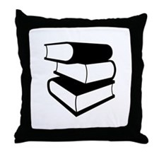 Stack Of Black Books Throw Pillow