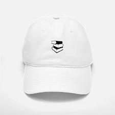 Stack Of Black Books Baseball Baseball Cap
