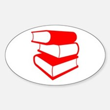 Stack Of Red Books Sticker (Oval)