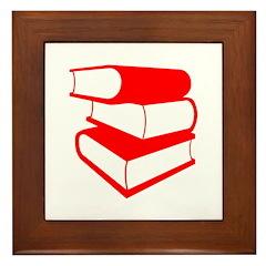 Stack Of Red Books Framed Tile