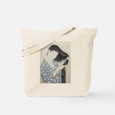 Hashiguchi Goyo - Woman in Blue Combing H Tote Bag