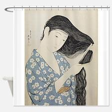Hashiguchi Goyo - Woman in Blue Com Shower Curtain