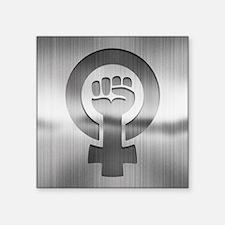 """Feminist Fist Metal Square Sticker 3"""" x 3"""""""