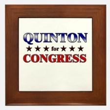 QUINTON for congress Framed Tile